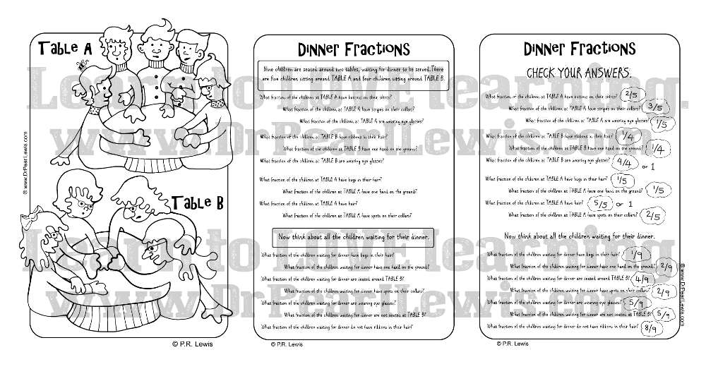Dinner Party Fractions Worksheet Preview
