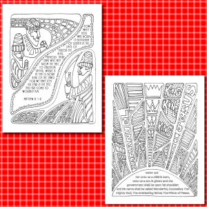 Colorable Christmas Cards in the Color the Carols BIG COMBO Christmas Gift Set